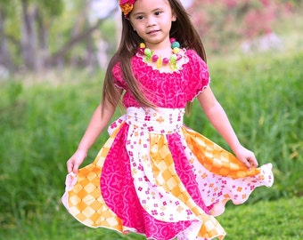 """SALE - Colorful Pink & Yellow """"Dancing Flowers"""" Twirl Party Dress - Girls - Spring - Summer - Party - Special Occasion - Sundress - Peasant"""