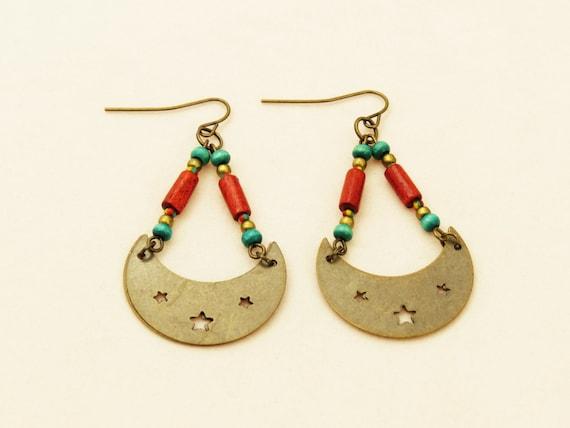 Boho Moon and Star Earrings - The Soleil Earrings