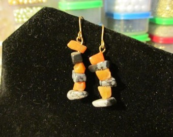 Earrings - Orange and Grey