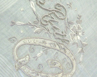 Vintage Handkerchief Monogrammed Embroidered Ruth Hankie Floral Gray White 1950s