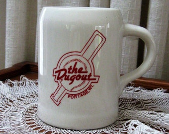 Vintage Pottery Mug Beer Mug The Dugout Portage Wisconsin Collectible Red Cream