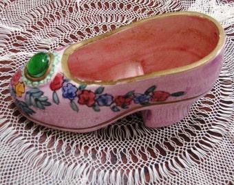 Vintage Shoe Planter Pink Green Blue High Heel 1970s