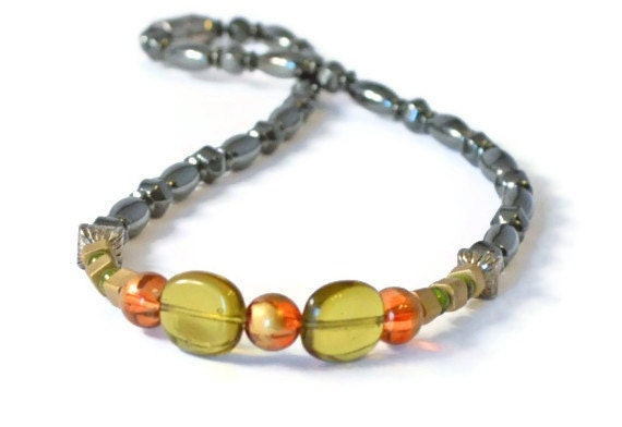 Magnetic Hematite Necklace w/ Golden Glass Beads, Pain Relief, Holistic Health, Therapy Jewelry