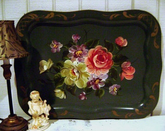 SALE Vintage Handpainted Floral Tray, Sage / Moss Green, Metal, Ex Lrg Rectangle, 10th Anniversary,  French Country Shabby Chic, REDUCED