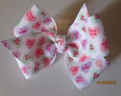 Valentine Hair Bow, Conversation Hearts Boutique Hairbow