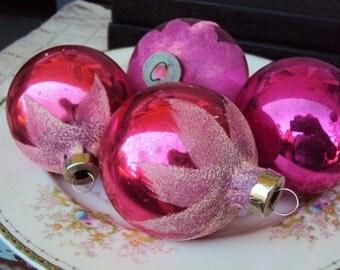 Vintage Christmas Ornaments Mica Glitter Mercury Glass Tinsel Inside 1940s