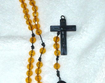 Beautiful Yellow ROSARY BEADS With Brown Cross