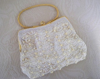 Vintage Evening Purse Wedding Vivant Pearl /Sequin Purse