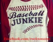 Baseball junkie. Baseball mom shirt. Baseball tee. Baseball laces. Custom baseball shirt. Raglan baseball burnout. Baseball team shirt.