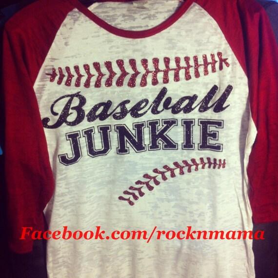 Baseball junkie baseball mom shirt baseball tee baseball for Custom baseball tee shirts