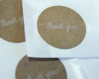 Natural Brown Kraft Thank You Stickers - Seals - Round 1.25 Inch - Thank You Script - Pack of 25