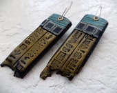 Bronze Egyptian Hieroglyph Earrings
