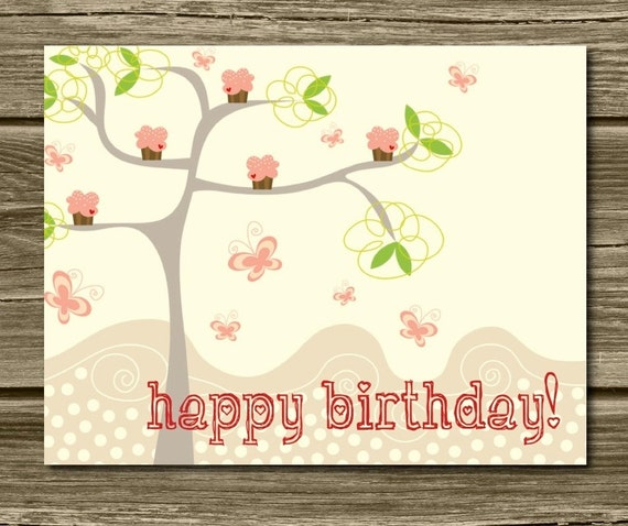SALE Cupcake Tree Flat Happy Birthday Cards Unique Fun – Unique Birthday Cards