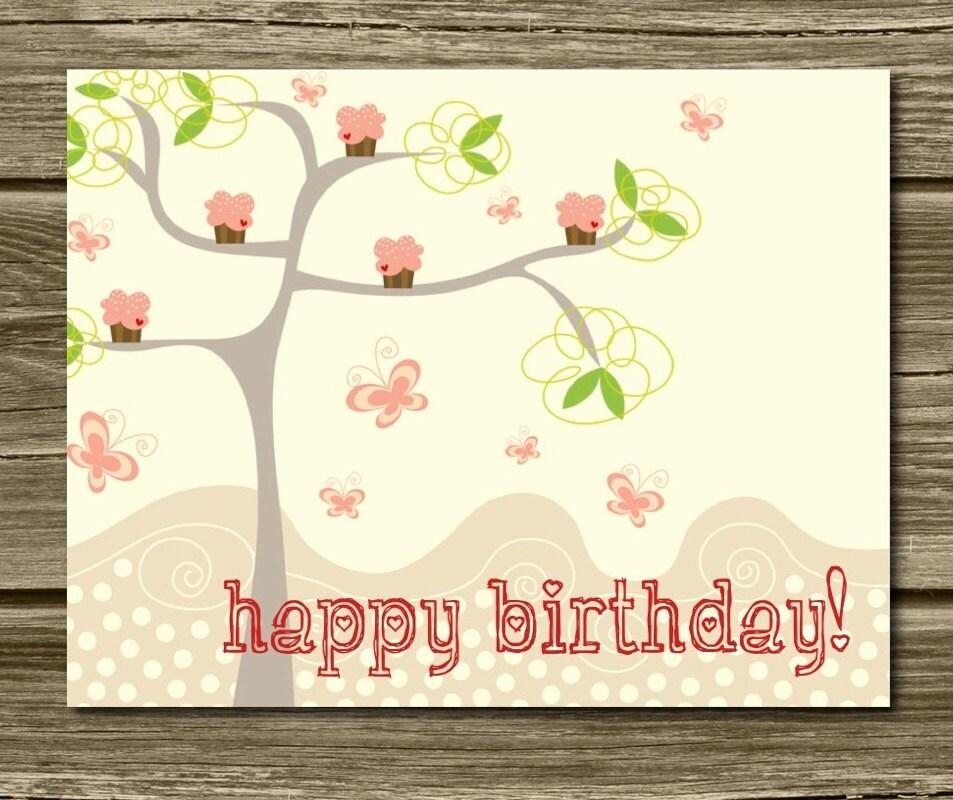 SALE Cupcake Tree Flat Happy Birthday Cards. Unique. Fun