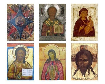 Instant Download ATC Vintage Icons Religious Collage Sheet  ACEO Backgrounds , Printables, Downloads, DigitalCollageSheets