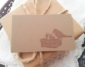 Mama Bird and Nest Place Cards Food Buffet Label Tags Baby Shower Set of 10