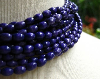 Wooden Navy Blue Oval Rice Beads 6mm by 4mm 8 inches (20cm)