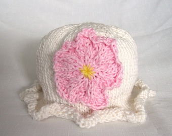 Knit Ruffle Flower Cotton Baby Hat great photo prop