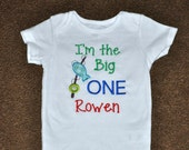 Birthday Boy Outfit - Personalized First Birthday BIG ONE Fishing Appliqued Body Suit or T-shirt, Sizes 12, 18, & 24 month