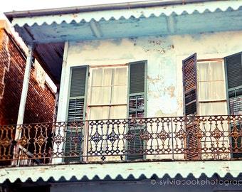 "New Orleans Photograph, ""Blue and yellow house"" Travel Photography, Colorful Pastel Houses, French Quarter, architecture, NOLA"