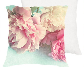"Shabby chic home decor ""like yesterday"" 3 peonies 18x18 or 22x22 pillow, cottage decor, pink floral pillow, pastel pillow,flowers,aqua"