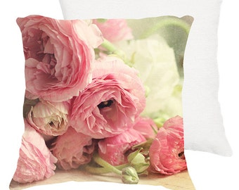 """Shabby chic home decor """"The first bouquet"""" pink Ranunculus 18x18 or 22x22 pillow, cottage decor, floral pillow, pink flowers"""