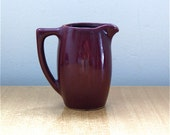 Maroon Pitcher / Vintage Pottery / JV // FREE Shipping!