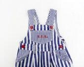 Vintage overalls / blue stripe patriotic childrens dungarees