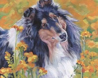 Tricolor Rough Collie portrait CANVAS print of LA Shepard painting 8x8 dog art