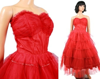 SALE! 50s Prom Dress XS Vintage Long Red Tiered Tulle Strapless Wedding Formal Gown Free US Shipping