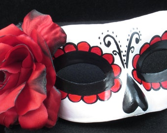 Beloved Mask, Day of the Dead mask with red burnt rose