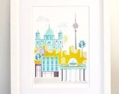 Berlin Art Print, Skyline, Paper wall Poster, Cityscape Illustration, Art kids room, nursery, bedroom, Kitchen, Gift, yellow green