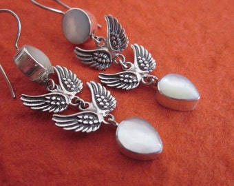 Elegant Balinese Silver wings of eagle Earrings / silver 925 / Bali handmade jewelry / mother of pearl.