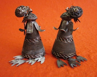 Antique tribal Silver earrings from Sumatra  / Lampung handmade jewelry / unique pair from Colonial period