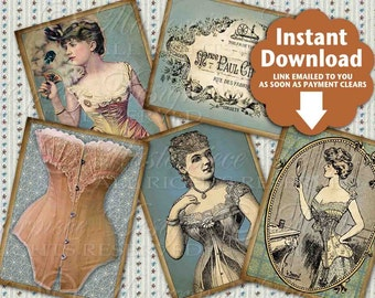 Vintage Corsets / Old Fashioned Victorian Undergarments / Hang Tags / Gift Tags - Printable Instant Download and Print Digital Sheet
