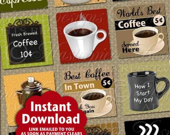 Fresh Brewed / Coffee / Espresso / Latte / Java / Cafe / Mug / Signs - Printable INSTANT DOWNLOAD 1x1 Inch Squares Digital JPG Collage Sheet