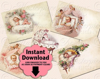 Baby Girls / Newborn / Baby Shower / Baby Gift - Printable ATC, ACEO, Hang Tags, Instant Download and Print Digital Sheet