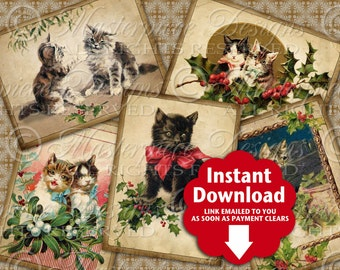 Christmas Kitties / Vintage / Cats / Kittens - Printable Hang Tags, Instant Download and Print Digital Collage Sheet