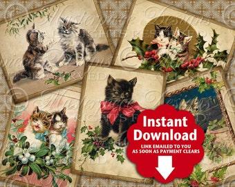 Christmas Kitties / Vintage / Cats / Kittens - Printable ATC, ACEO, Hang Tags, Instant Download and Print Digital Sheet