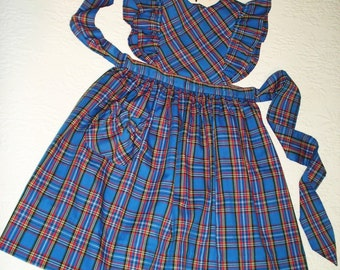 Ready to Ship. Plaid Pinafore Jumper in Royal Blue, size 6X to 7.