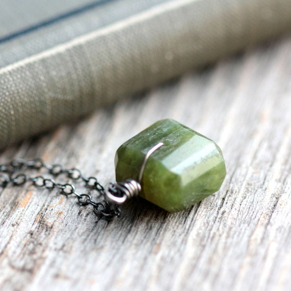 Moss Green Necklace Vesuvianite Gemstone and Sterling Silver Chain - Sorcerer's Stone, Peridot Green Woodland Summer Fashion