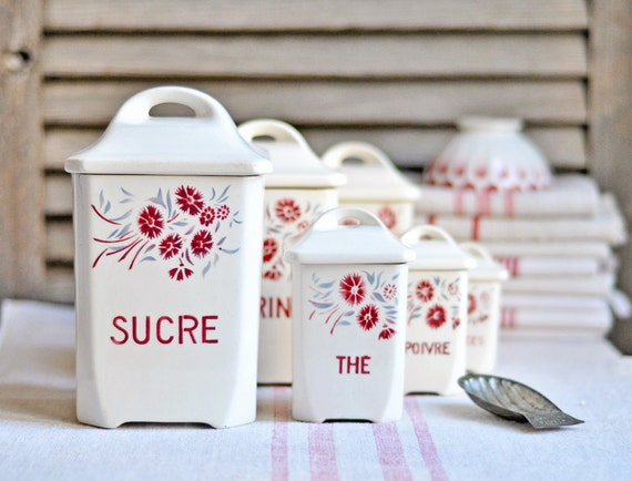 Items Similar To Vintage French Kitchen Canisters