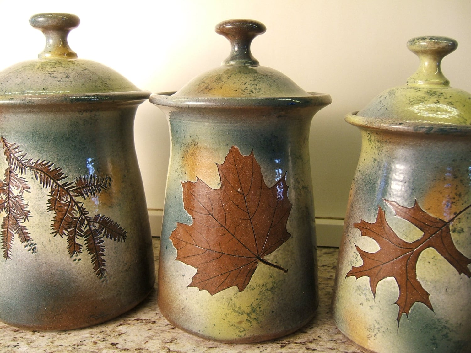 Canister set Lidded Jars Kitchen Canisters with tree leaves in