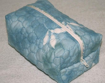 Boxy Zippered Pouch, Cosmetic Bag, Camera Case, Re-purposed Vintage Sheeting, Blue green