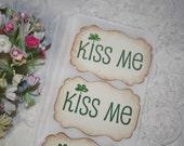 Stickers - Envelope Seals - St Patrick's Day - Kiss Me - Glittered Shamrock