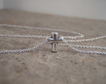 Tiny silver cross necklace - On Sale - Simple cross necklace - Sterling silver cross necklace - Petite cross necklace- Photo NOT actual size