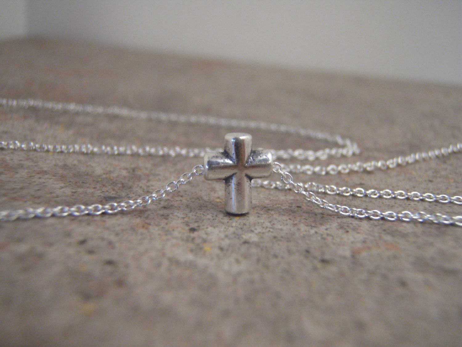 Tiny silver cross necklace Simple cross necklace Sterling