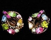 Hollycraft 1955 Round Pastel Earrings