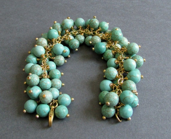 RESERVED - Chunky Charm Bracelet / Blue Green Magnesite and 14k Gold Plated Bracelet / Statement Bracelet - Dazzle