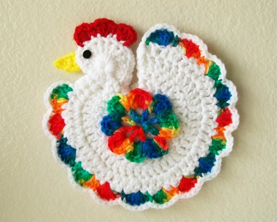 Free Crochet Pattern Rooster Pot Holder : Items similar to Crochet Chicken Rooster Bird Rainbow Pot ...
